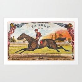Parole Vintage American Racehorse Art Print