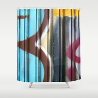 graffiti Shower Curtains featuring Graffiti by BASEMENT WEST