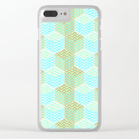 Cubes in teal and golden chevron Clear iPhone Case
