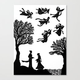 The Cowherd & the Weaving Maiden - First Meeting Canvas Print
