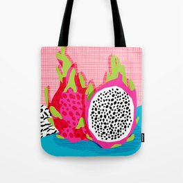 Hard Core - memphis throwback retro neon tropical fruit dragonfruit exotic 1980s 80s style pop art Tote Bag