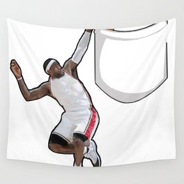 King James dunking in a pocket Wall Tapestry