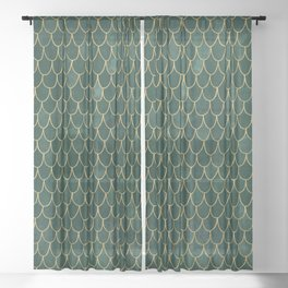 Mermaid Fin Pattern // Emerald Green Gold Glittery Scale Watercolor Bedspread Home Decor Sheer Curtain
