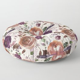 Vivid Plum and Orange Blossom with Feathers on Cream  Floor Pillow
