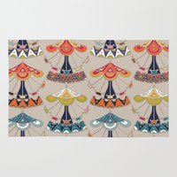 damask Area & Throw Rugs featuring carousel damask by Sharon Turner