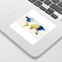 World Map 16 - Yellow And Blue Art By Sharon Cummings Sticker