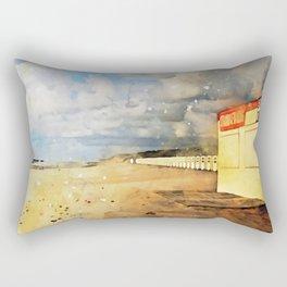 Watercolor Beach Rectangular Pillow