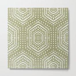 Boho Painted Light Olive Metal Print