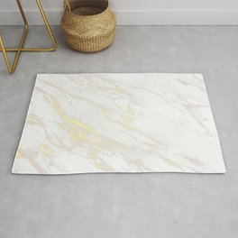 White Marble With Gold Rug