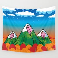 giants Wall Tapestries featuring The sleeping giants by Mike Adey