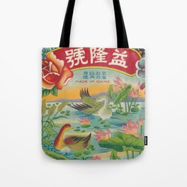 Vintage Firecracker Label with Ducks Tote Bag