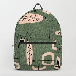 Mid-Century Atomic Green Abstract Backpack