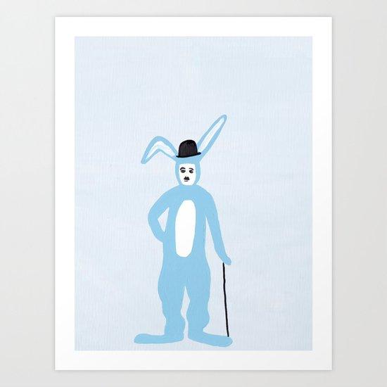 charlie chaplin in a bunny suit Art Print