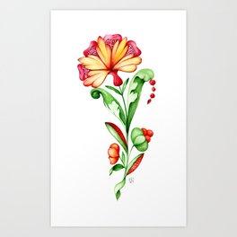 A bright fantasy plant with green leaves and flowers isolated on a white background Art Print