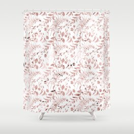 Elegant modern faux rose gold tropical leaves floral Shower Curtain