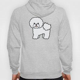 Cute White Bichon Frise Dog Cartoon Illustration Hoody