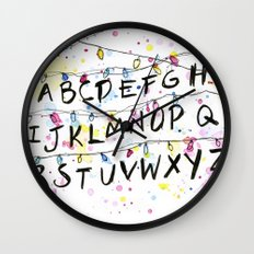 Stranger Things Alphabet Wall Christmas Lights Typography Wall Clock