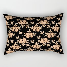 Retro . Beige flowers on a black background . Rectangular Pillow