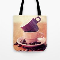 cafe Tote Bags featuring LE CAFE by Claudia Drossert