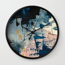 Pleiades: a minimal, abstract mixed media piece by Alyssa Hamilton Art in Pink, Gold, and Blue Wall Clock