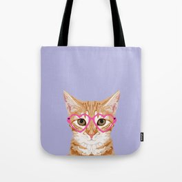 Mackenzie - Orange Tabby Cute Hipster Glasses Kitten Lavender Pastel Girly Retro Cat Art cell phone Tote Bag