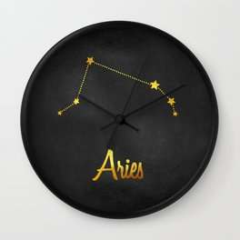 Aries Constellation in gold Wall Clock