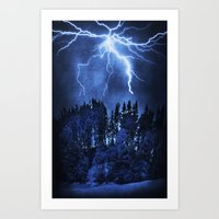lightning Art Prints featuring Lightning by Svetlana Sewell