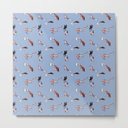 Pattern with fishes on blue background Metal Print