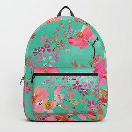 Elegant hand paint watercolor spring floral Backpack