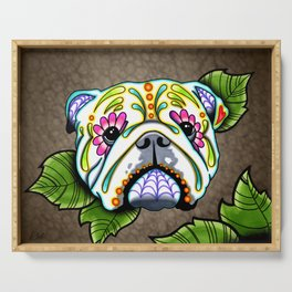 English Bulldog - Day of the Dead Sugar Skull Dog Serving Tray