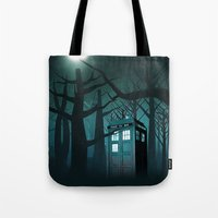 marauders Tote Bags featuring Tardis in the Forest of The Night by neutrone