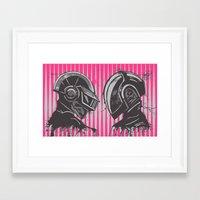 daft punk Framed Art Prints featuring Daft Punk by Ren Davis