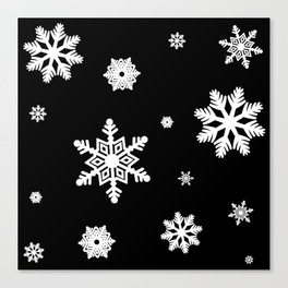 Snowflakes | Black & White Canvas Print