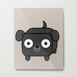 Pitbull Loaf - Black Pit Bull with Floppy Ears Metal Print