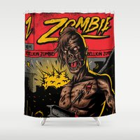zombie Shower Curtains featuring Zombie by Demones