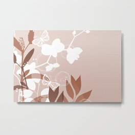 Botanicals and Butterfly Graphic Design Sherwin Williams Canyon Clay Metal Print