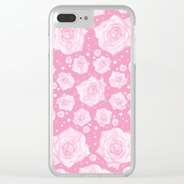 White Rose Gentle on Pink Circular Pattern Clear iPhone Case