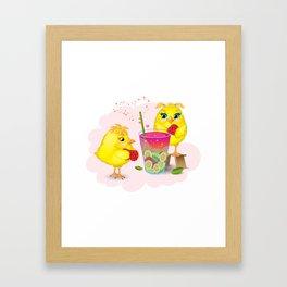 Chickens are preparing a magic elixir. Framed Art Print