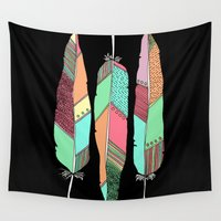 feathers Wall Tapestries featuring Feathers by nessieness