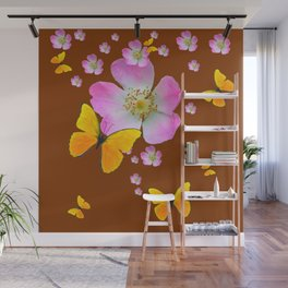 COFFEE BROWN YELLOW BUTTERFLIES & PINK WILD ROSES Wall Mural