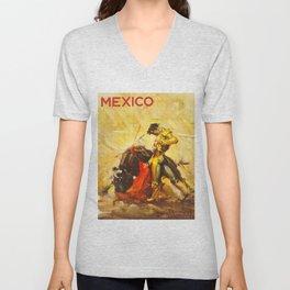 Vintage Mexico Bullfighting Travel Unisex V-Neck