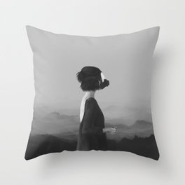 Girl with a gas mask Throw Pillow