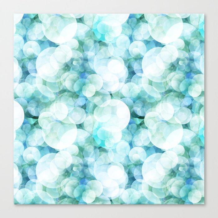 Aqua blue circles dots polka dots bokeh pattern on #Society6 Canvas Print