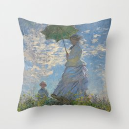 Woman with a Parasol - Madame Monet and Her Son Throw Pillow