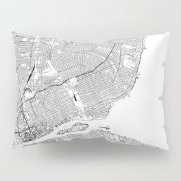 Detroit White Map Pillow Sham