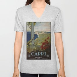 Isle of Capri Italian travel ad Unisex V-Neck