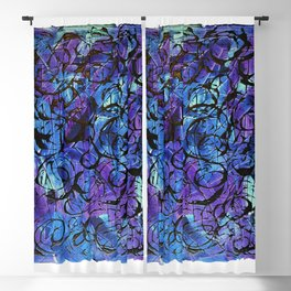 Blue and Purple with Black Tar Acrylic Swirls Blackout Curtain