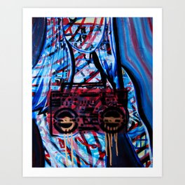 Boob Box Blue Art Print
