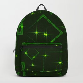 Green rhombuses and squares at the intersection with the stars on a grassy background. Backpack