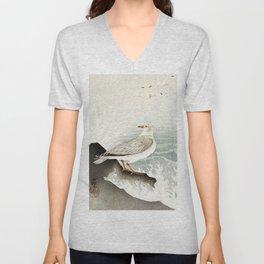 Seagulls at the beach - Vintage Japanese woodblock print Art Unisex V-Neck